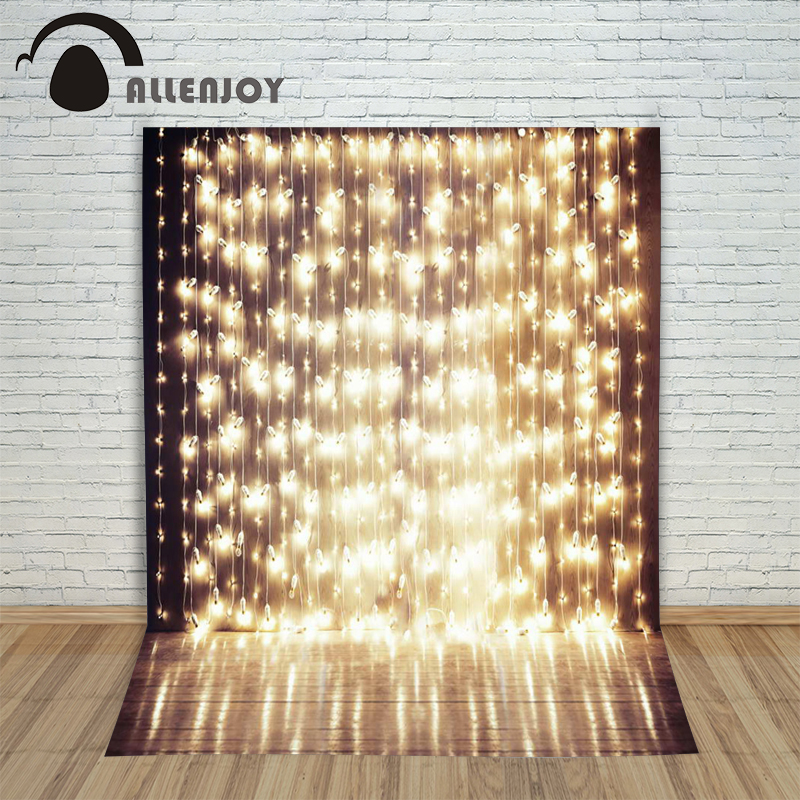 5x7ft Shiny Stage Photography Backdrop a string of festive lights wedding template background for photography studio Custom size