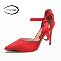 WEIQIAONA 2018 New casual star model red ballet Women Pumps High Heel Pointed lace up brand Wedding shoes Party Shoes Ladies