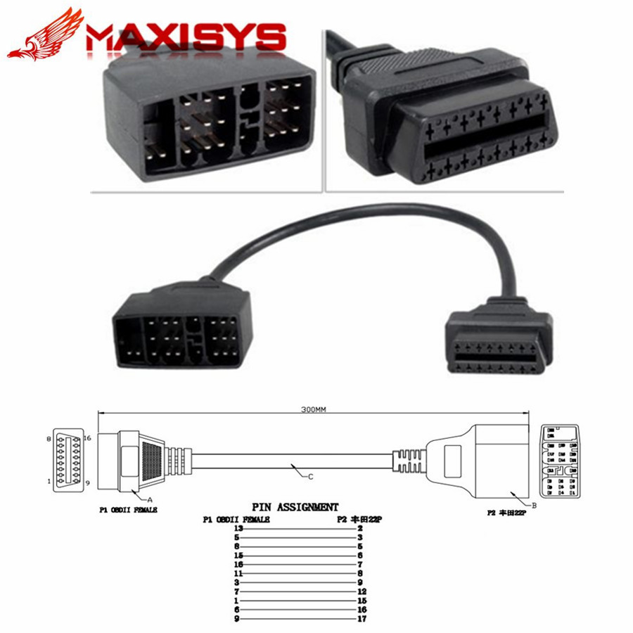 Gm 12 pin obd obd2 connector for gm 12pin adapter to 16pin for gm cars - For Toyota 22 Pin To 16 Pin Obd1 To Obd2 Connect Cable Connector Adapter Cable For