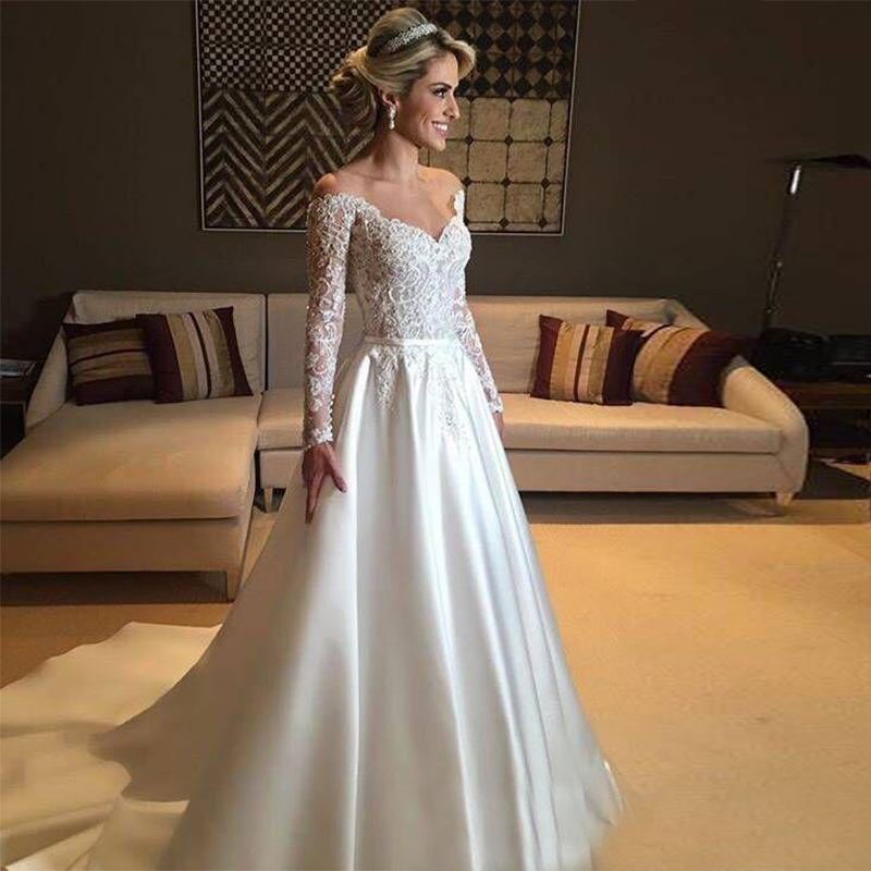 2019 Top Quality Vintage Lace Wedding Dresses Long Sleeves Off The Shoulder Beaded White Ivory Wedding Gown Vestido De Noiva