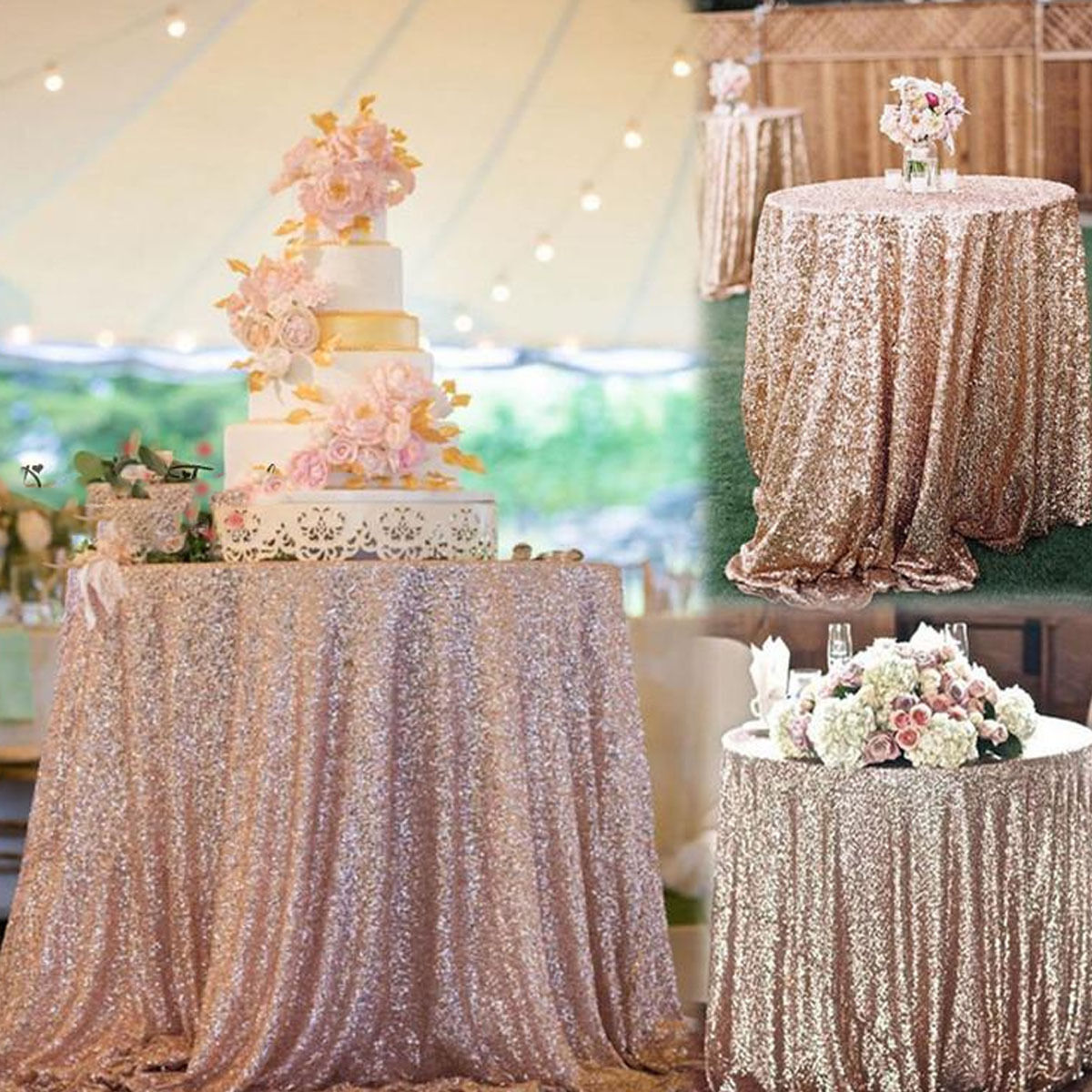 Sparkly Tablecloths Glitter Sequin Tablecloth Sequin Rose Gold Table Cloth Wedding Party Banquet Home Decoration Accessories Party Diy Decorations Aliexpress
