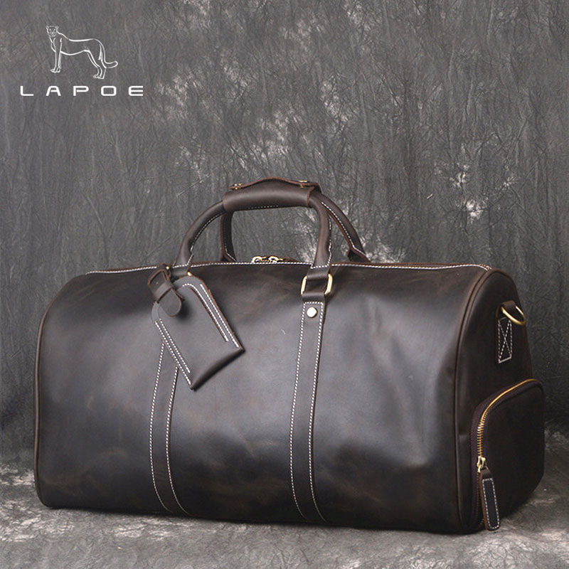 LAPOE Large Vintage Retro Look Genuine Leather Duffle Bag Weekend Bag Mens Handbag Men Real Cowhide Leather Travel Duffle Bags