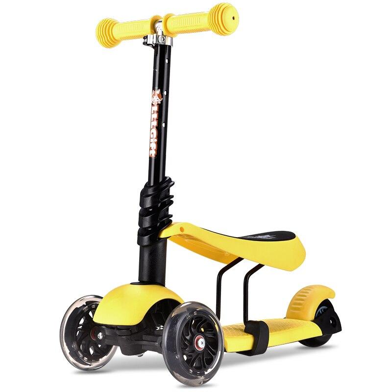 Prix pour 3 en 1 enfant scooter jouet fille tricycle avec ajuster poignée et siège PU lumière up roue 3 roues scooter monopattino par bambini