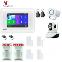 YobangSecurity Touch Screen Smoke Fire Wireless Home Security GSM WIFI GPRS RFID Alarm System APP Remote Control Video IP Camera