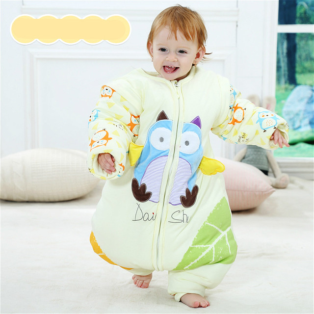 Baby sleeping bag autumn and winter thickening children's cotton sublegged cotton sleeping bag removable sleeves anti-kick quilt