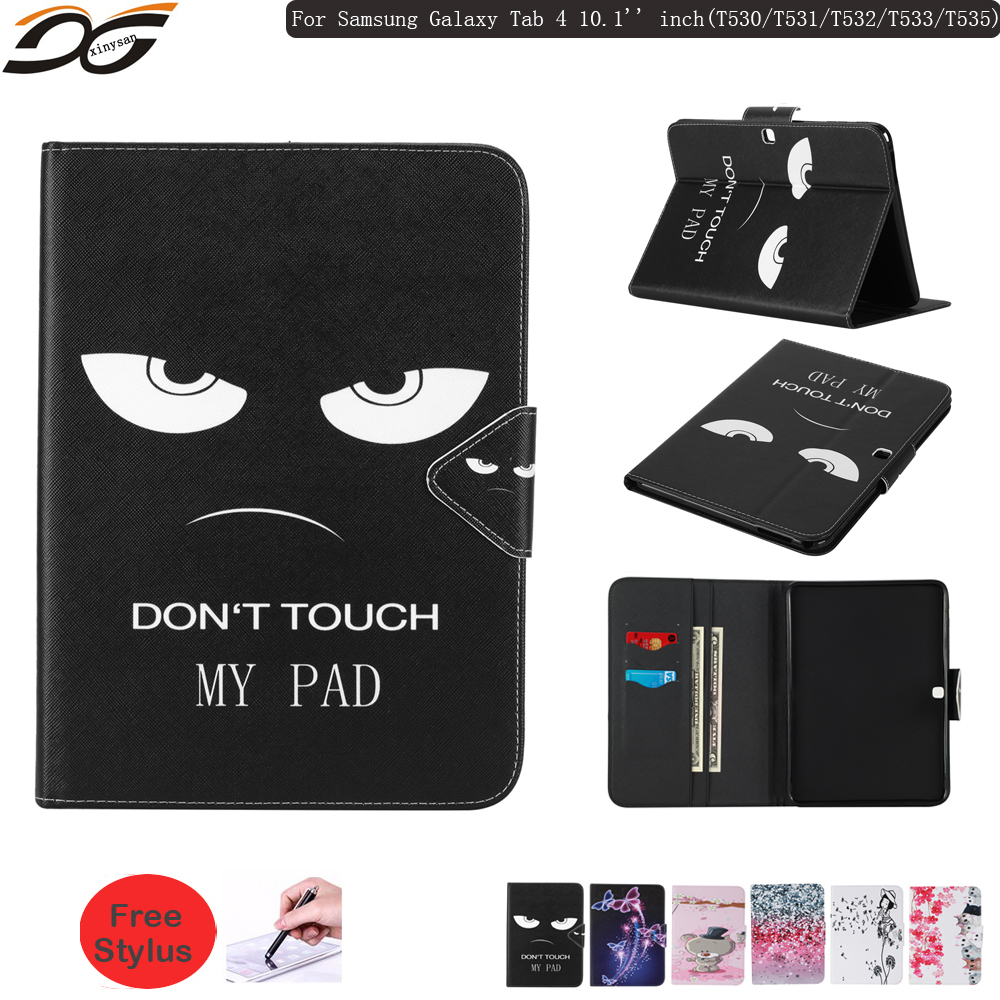 Wallet Case for Samsung Galaxy Tab 4 10.1 inch T530 T531 T532 T533 T535 WIFI 4G LTE 3G Folding Stand Wallet Leather Case Cover