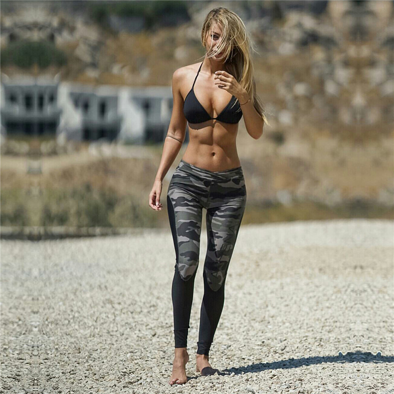 2017 Autumn Women s New Camouflage Color Sporting Pants High Waist Patchwork Fitness Leggings Female Activewear