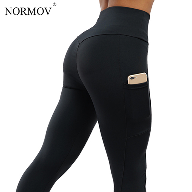 af853c03555aa NORMOV Workout Leggings Women Clothing Solid Pocket Push Up Pants Female  Sexy High Waist Seamless Leggings Femme Gothic