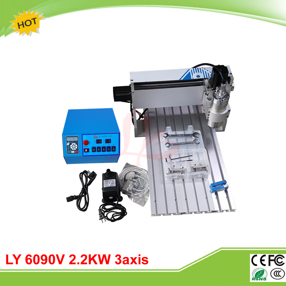 LY 6090V 2.2KW 3 axis mini CNC engrave machine VFD control box for metal drilling work ly cnc 6090v 2 2kw 4 axis mini cnc router vfd control box grinder