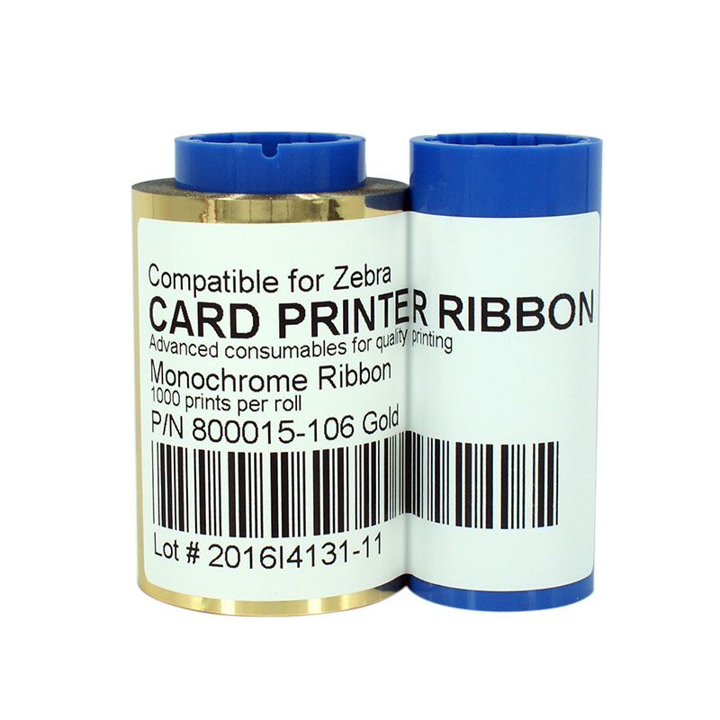 Printer Ribbon 800015-106 Gold Ribbon 1000prints/roll for Zebra P310i P300F P300 P320i P400 P600C Card Printer zebra 800015 940 pvc card printer color ribbon for p110i p120i card printer 200 prints