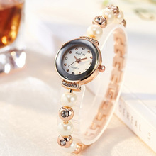 Top Brand Crystal Pearl Bracelet Watch Women Luxury Rose Gold Stainless Steel Quartz Wrist Watches Ladies Fashion Dress Watch fashion women wrist watch marble surface stainless steel band quartz movement rose gold simple ladies fashion dress wristwatches