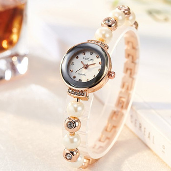 цена на Top Brand Crystal Pearl Bracelet Watch Women Luxury Rose Gold Stainless Steel Quartz Wrist Watches Ladies Fashion Dress Watch