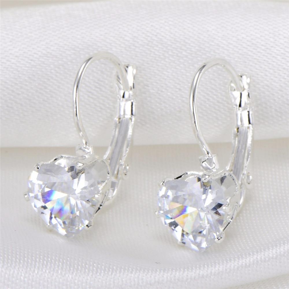 silver plated import zircon high quality heart tear eye round design jewelry earrings 842232 gold earrings for women