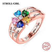 Strollgirl 100% 925 Sterling Silver Personalized Customization Engraved 5 Heart Shaped Birthstones Ring Stelring Silver Jewelry