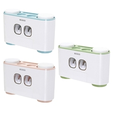 Double Automatic Toothpaste Squeezer 4 Cups Anti-dust Toothbrush Holder Rack Set YH-KTSF