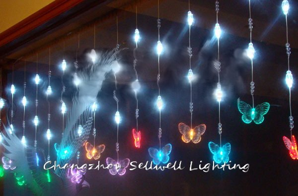 NEW!LED christmas bulb ceiling decoration 0.65*6m coloured butterfly crystal bead curtain lamp H200