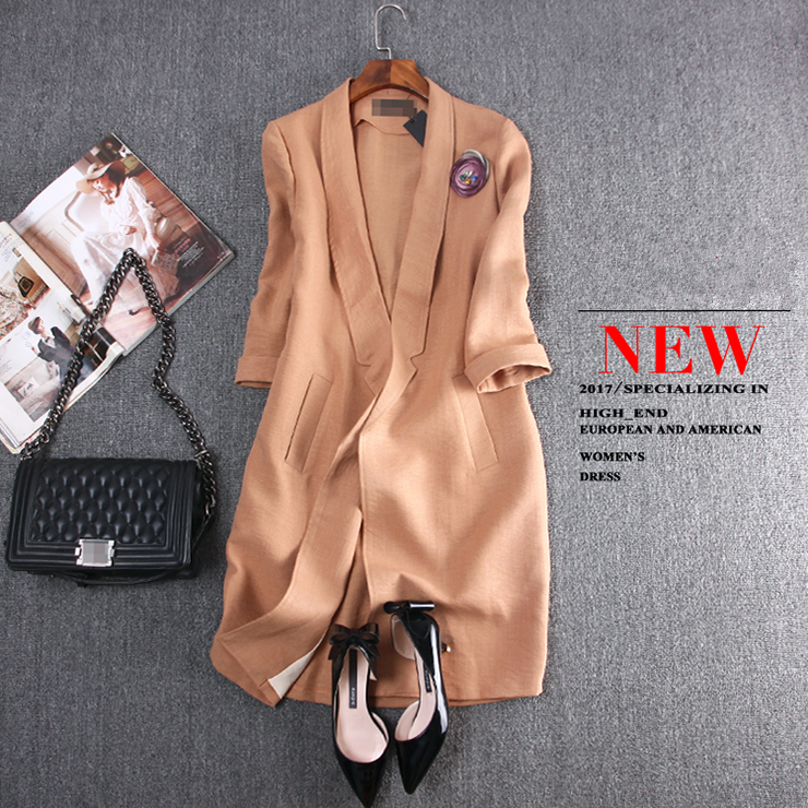 Europe Station 2019 New Autumn Three Quarter Sleeve Long Solid Fashion Casual Notched Collar Pockets Women Blazers Plus Size