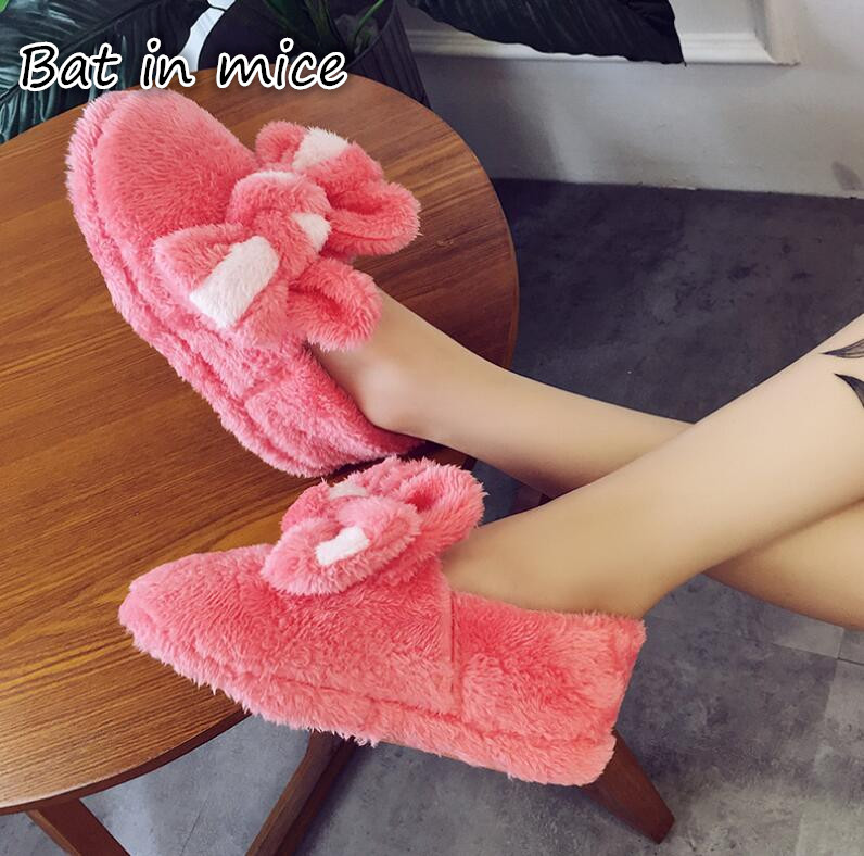 B.I.M. Cute Bowknot Warm Winter Women Home Slippers For Indoor House Bedroom Plush Shoes Soft Bottom Flats Christmas Gift Z133 new winter soft plush cotton cute slippers shoes non slip floor indoor house home furry slippers women shoes for bedroom z131
