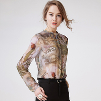 100 Silk Blouse Women Shirt Printed Simple Design Long Sleeves Translucent Fabric Office Work Top New