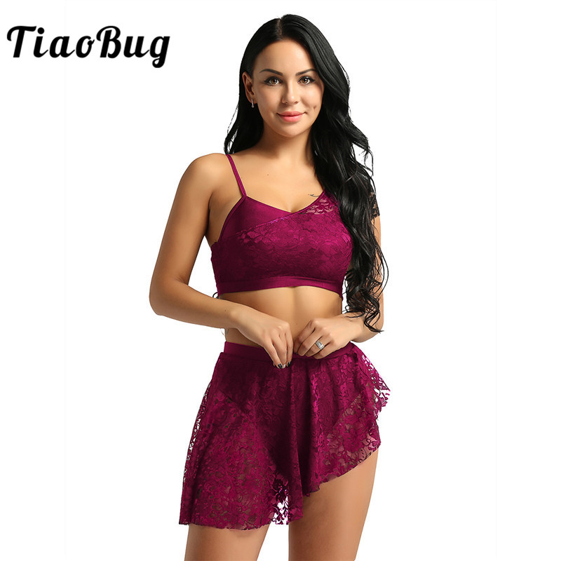 <font><b>TiaoBug</b></font> Women Lace Asymmetric Contemporary Lyrical Dance Costume Adult Ballerina Crop Top Ballet Tutu Skirt Gymnastics Dance Set image
