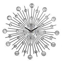 13 дюймов с украшениями в виде серебристых кристаллов sunburst металлические настенные часы,, Ретро стиль, металлический украшение для дома часы