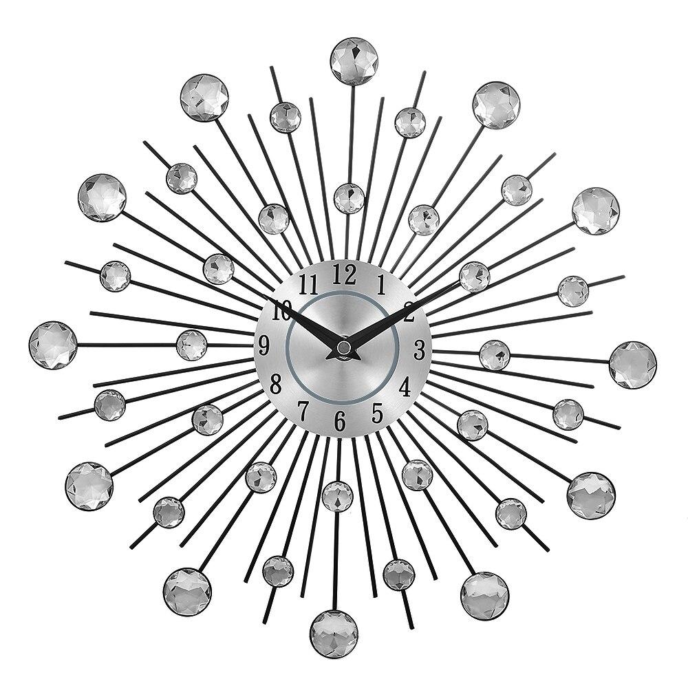 13-inch Silver Crystal Sunburst Metal Wall Clock Original Vintage Metal Home Decoration Clock