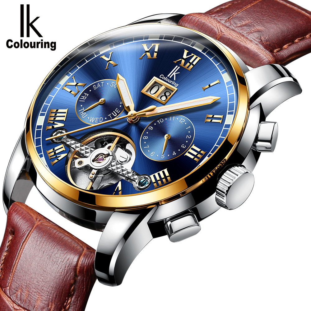 IK Colouring Luxury Men's Automatic Watches Stainless Steel Multifunction Flywheel Dial Relogio Masculino Mechanical Male Watch