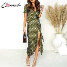 792f5c20d7252 Conmoto V-Neck Polka Dot Dress Women 2019 Summer Casual High Waist Mid-Calf