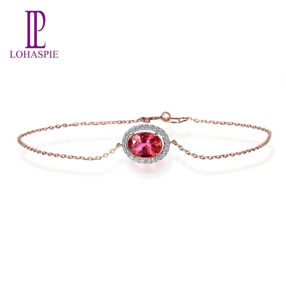 Lohaspie Solid 18K Rose Gold 1.20ct Natural Gemstone Rubellite & Diamonds Bracelet For Women Fine Diamond Jewelry 7.5 Inches