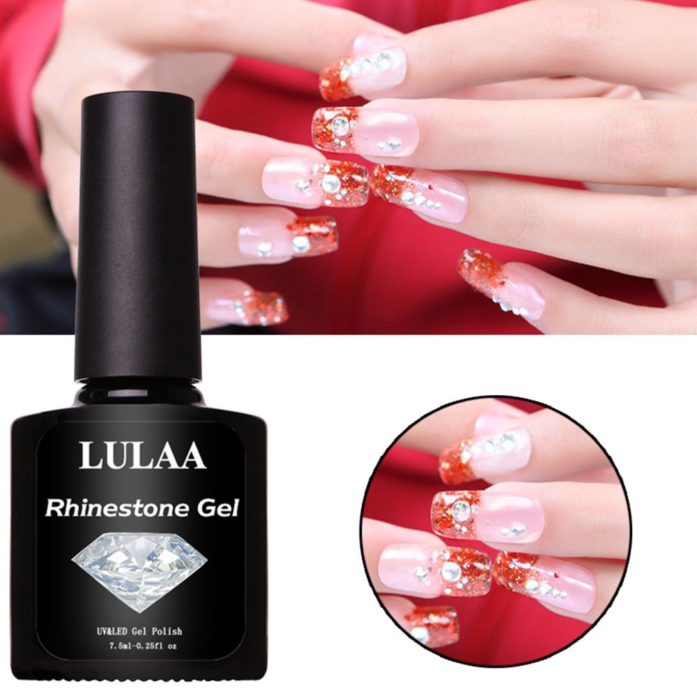 1 Bottle 7.5ml Rhinestone Adhesive Nail Glue Transparent Strong Sticky UV Curable Resin Finger Nails Art