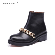 HANSCHIC 2017 Black Real Cow Leather Ladies Womens Low Heels Casual Boots Shoes for Female with Chains Design 03007