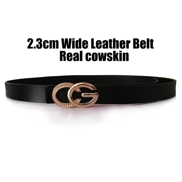 PYBETA 2018 Holly Leather Belts For Women Jeans Diamond Decorative C Bright G Solid Letters Buckle Waist Bands 2.3cm Cow Strap