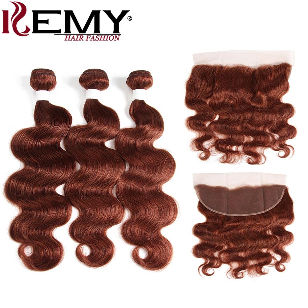 Brown Auburn 33 3Pcs Brazilian Body Wave Human Hair Bundles With Frontal 4*13 KEMY HAIR Non-Remy Human Hair Weave Bundles