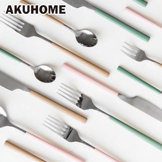 Столовые приборы Нержавеющая сталь Столовая посуда западной Столовая посуда матовая ручка 3 цвета Ножи Вилка Teaspoon ужин обеденный