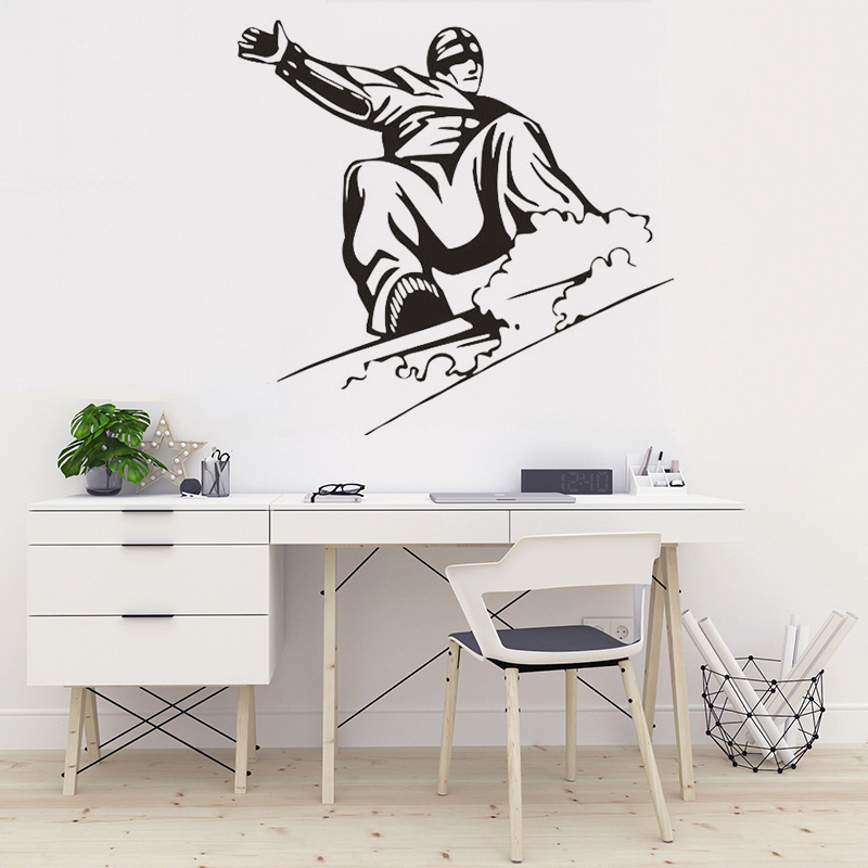 Hot Sale Snowboarding Art Wall Vinyl Sticker For Kids Room Ski