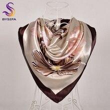 [BYSIFA] кофейный женский шелковый шарф, шаль, Зимний Элегантный брендовый Цветочный Большой квадратный шарф, шарфы, модные мусульманский головной платок, синий, красный