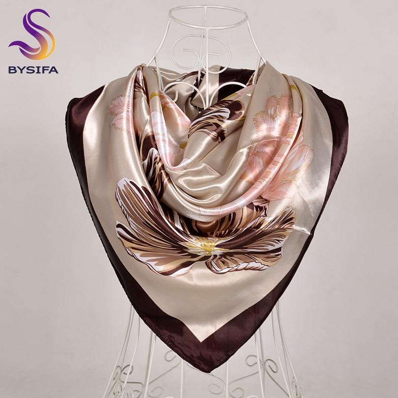 [BYSIFA] Coffee Women Silk Scarf Shawl Winter Elegant Brand Floral Large Square Scarves Wraps Fashion Muslim Head Scarf Blue,Red
