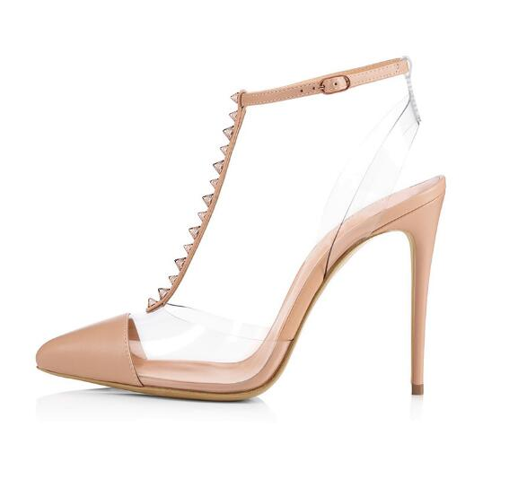 2018 Summer Newest Pointed Toe T-strap High Heel Sandal Sexy Transparent PVC Thin heels shoes rivets studded gladiator sandal summer newest woman sandal thin heels high heel shoes 2017 solid red leather ankle buckle strap sandals rivets studded shoes