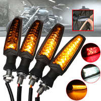 4Pcs 18 LED Universal Flowing Motorcycle Turn Signal Indicator Light Lamp Low Power Consumption Flexible Bendable Light Lamp
