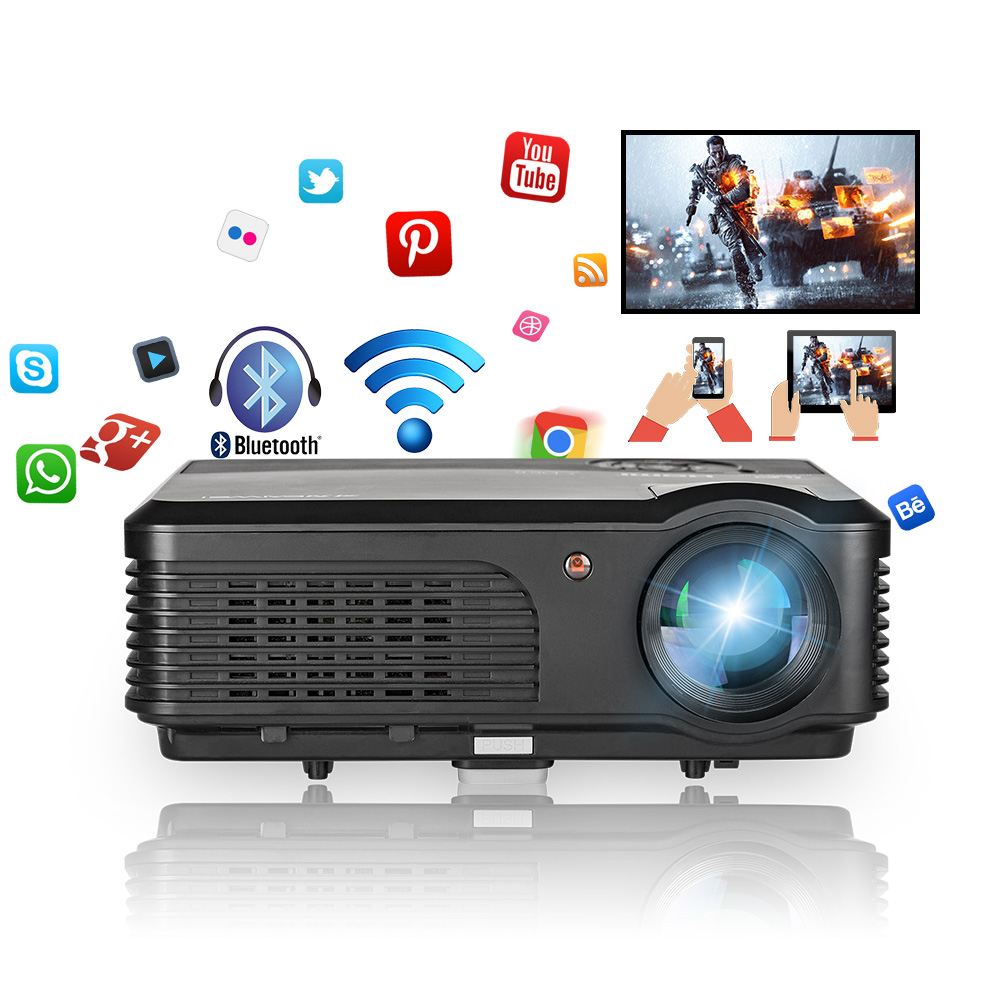 Caiwei Digital Led Projector Home Theater Beamer Lcd: CAIWEI Android Wifi LCD Projector Bluetooth Digital LED