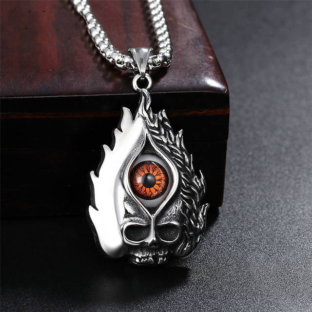 STAINLESS STEEL VINTAGE SKULL 2 COLOUR EYE NECKLACE