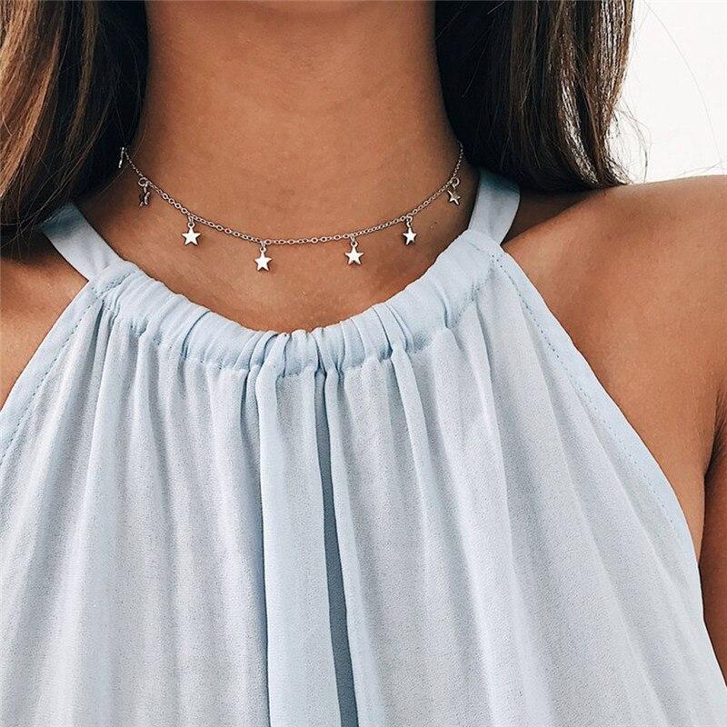 Star Necklace Women Choker Kolye Gold Silvery Moon Necklaces Boho Pendants Collier Femme Chain Collar collares de moda 2019 G2 1