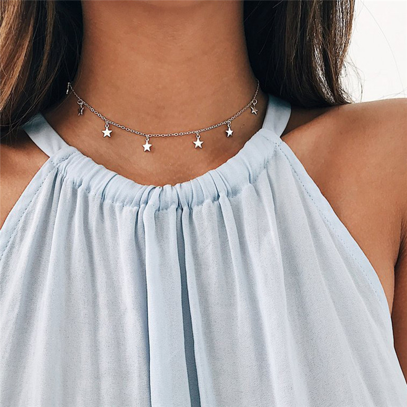 Star Necklace Women Choker Gold Moon Necklaces Clavicle Pendant Collier Femme Chain Collares De Moda 2019 Fashion Jewelry G2
