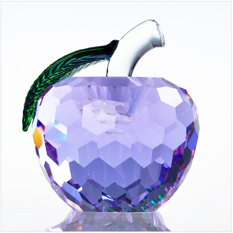 60mm Cut Crystal Apple Paperweight Glass Crafts Fruit Gifts Home Decoration Arts&Collection Christmas Wedding Souvenir Gifts