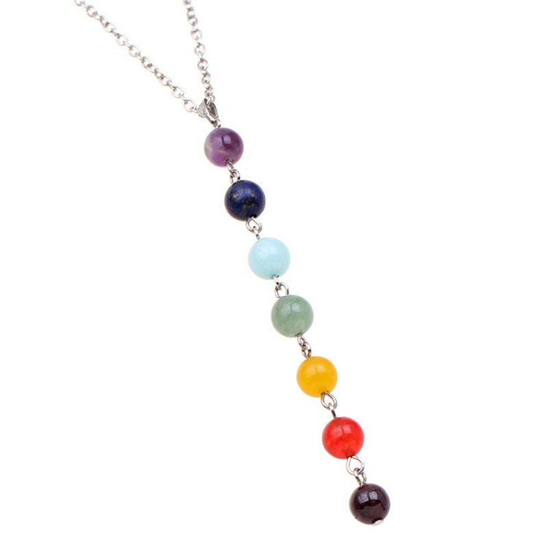 7 chakra gem stone beads pendant necklace women yoga reiki healing 7 chakra gem stone beads pendant necklace women yoga reiki healing balancing necklaces charms jewelry best gift in pendant necklaces from jewelry aloadofball Gallery