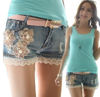cute girl jean shorts
