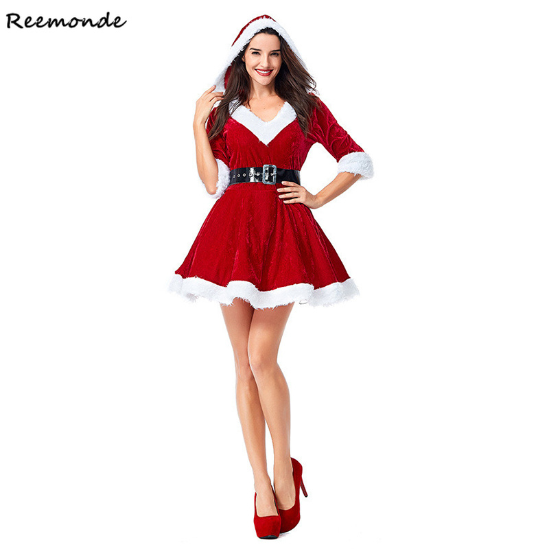 New Year Christmas Cosplay Costumes Santa Claus Cashmere Velvet Top Dresses Belt Set Uniform For Adult Women Girls Party Clothes