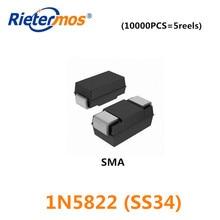 10000PCS 5REELS SS34 SK34 1N5822 SMA DO 214AC 3A40V