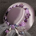Fairy Purple Flower Satin Wedding Hats High Quality Real Bride Hat New Stock Cappelli Da Cerimonia SQN015