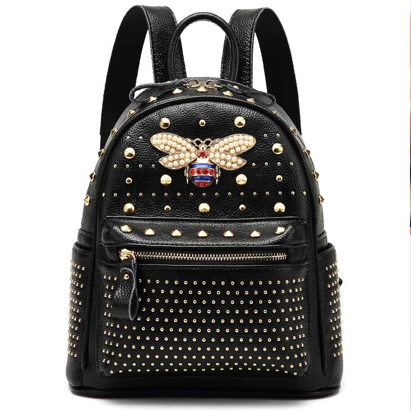 Small Women High capacity Backpacks Rivet Zipper Pu Leather Student Backpack Fashion bee Bag Girls Women's shiny Backpack toposhine small rivet women backpacks fashion pu leather women shoulder bag rivet small ladies backpack girls school bags 1751